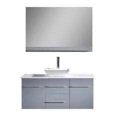 "Marsala 48"" Vanity, Gray, Faucet: Brushed Nickel, Top: White Stone"