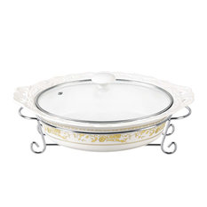 "Gold Rose Design 14"" Oval Casserole With Metal Stand"