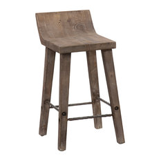 Reagan Low Back Counter Stool, Misty Mocha by Kosas Home