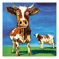 """Cartoon Cow X"" Canvas Art, 30""x30"""