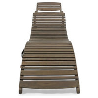 Brown Solid Wood Chaise Lounge