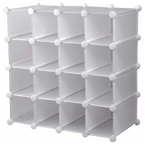 Modern Cube Shoe Rack Organiser, Plastic With 16-Section for Extra Storage White