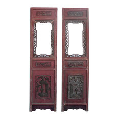 Chinese Red Open Window Wood Panel Decor, 2-Piece Set