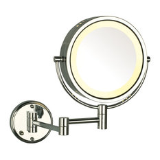 Modern Chrome Wall Mounted Lighted Make Up Mirror, Hard Wire