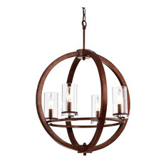 4-Light Antique Copper Globe Cage Globe Chandelier Clear Glass Sconce