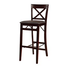 Linon Home Decor Products Triena X Back Folding Counter Stool Espresso
