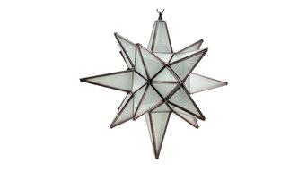 """Star of Bethlehem, Moravian Star Pendant, Frosted Glass, Bronze Frame, 15x18"""""""