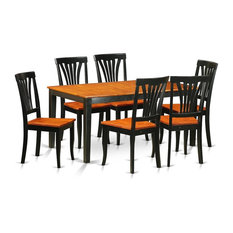7-Piece Kitchen Table Set Dining Table 6 Wood Chairs Black Without Cushion