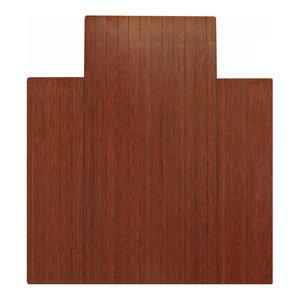 """Jovert Bamboo Roll-Up Chair Mat, Dark Cherry, With Lip, 44""""x52"""""""