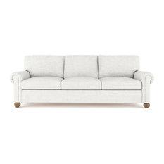 Leroy 8' Crushed Velvet Sofa Alabaster Extra Deep