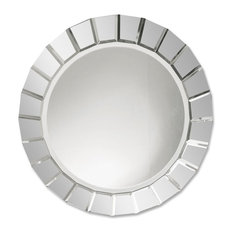 Contemporary Frameless Round Sunburst Wall Mirror