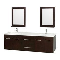 "72"" Double Bathroom Vanity With Stone Countertops, Undermount Sink, Mirrors"
