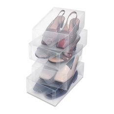 Whitmor Clear Plastic Women's Shoe Box 4-Pack