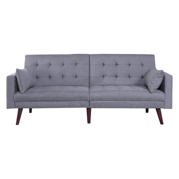 Sleeper Sofa Features Simple Mid Century Design And Natural Wooden Legs It S Also A Versatile Piece The Back Can Be Folded Down On One Or Both Sides