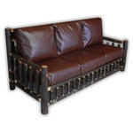 Vienna Industries LLC - Hickory Log Living Room Couch - Rustic Living Room Sofa made from bark on Hickory Logs that are incredibly sturdy.