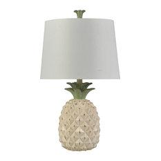 Metallic Pineapple Table Lamp, Doal Cream Finish, White Hardback Shade