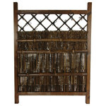Oriental Furniture - Japanese Dark Stain Wood and Bamboo Garden Gate - This is a beautiful, dark stained, hand crafted wood and bamboo gate, with a distinctive, rustic Japanese garden aesthetic. Built to last, crafted from kiln dried black antiqued bamboo pole and rustically finished wooden frame, this is a remarkably simple, beautiful piece of Zen craftsmanship. More and more people across America are turning part of their yards into green houses, gazebos, even adding Japanese style tea houses and Zen style Japanese gardens.
