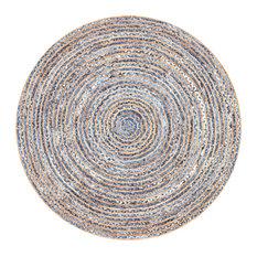 Hand Braided Jute and Denim Striped Area Rug, Blue, 6' Round
