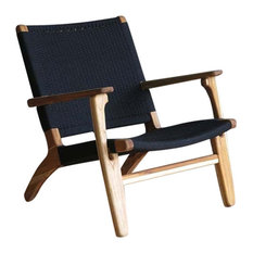 Woven Manila Arm Chair, Black, Royal Mahogany