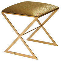 """""""X"""" Side Stool, Gold With Gold Dot Upholstery"""