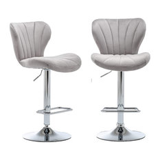 Set Of 2 Bar Stools Comfortable Upholstered Velvet Seat With High Back Grey