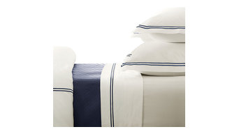 Egyptian Cotton Hotel Classic Queen Duvet Cover, Navy Blue Embroidery on White