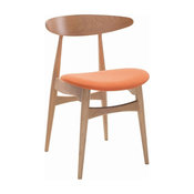 Tricia Dining Chair, Oak and Tangerine, Set of 2