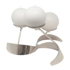 Modern Round Silver Metal Pinwheel Candleholder   3 Pillar Centerpiece Curved