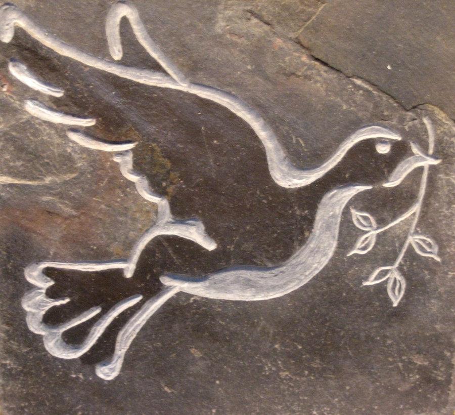 Stone Tile Memorial & Commemorative stone- Dove of Peace...