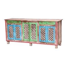 Arnot Multicolor Reclaimed Wood Lattice Door Large Sideboard Cabinet