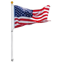 30' Telescopic Aluminum Flag Pole Kit, 3'x5' Us Flag, Fly 2 Flags