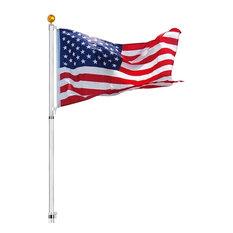 30' Telescopic Aluminum Flag Pole Kit, 3'x5' Us Flag, Fly 2 Flags