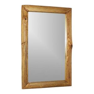 "Haussmann Mirror Recycled Teak Rectangle 22""x35"" (16""x29"" View) Oak Oil"