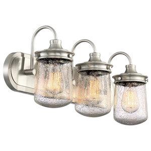 "Kira Home Mason 23"" Vanity/Bathroom Light, Seeded Glass Shade, Brushed Nickel"