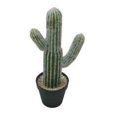 """Potted Faux Saguaro Cactus Planter 7.5x5x16"""""""