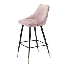 Modern Contemporary Bar Side Stool Chair Barstool Pink Velvet Stainless Steel