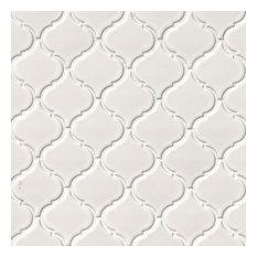 "10""x11"" White Glossy Arabesque Mosaic, Set of 10"