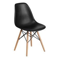 Elon Series Black Plastic Chair Wood Base