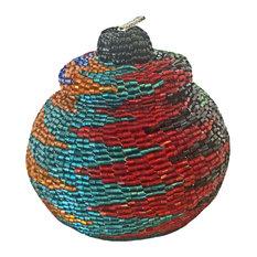 Manggis Handwoven Art Glass Basket, Dark Colorful Zigzag