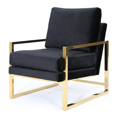 GDFStudio   Electa Modern New Velvet Club Chair With Stainless Steel Frame,  Black/Gold