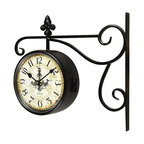 adeco black iron doublesided wall clock with scroll wall mount fleur de lis