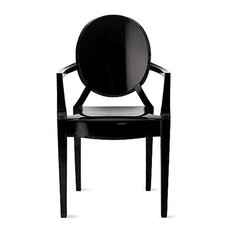 Louis Ghost Chair, Set of 2, Matte Glossy Black