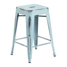 """24"""" High Backless Distressed Dream Blue Metal Indoor Counter H Stool"""