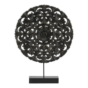 Round Wood Tabletop Ornament in Floral Design, Matte Black Finish, Small