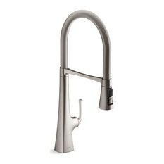 """Kohler Graze Semi-Professional Kitchen Sink Faucet With 24.3"""" Spout, Stainless"""