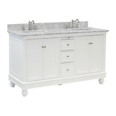 "Bella 60"" Bath Vanity, Base: White, Top: Carrara Marble, Double Vanity"