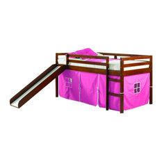 Toddler Loft Bed With Slide & Pink Tent