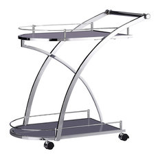 Modern Serving Trolley Cart, Steel Metal, Glass Shelves and 4-Caster Wheels