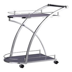 Modern Serving Trolley Cart, Steel Metal, Glass Shelves and 4-Caster Wheels