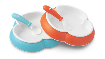 BABYBJORN Plate and Spoon Set, Orange and Turquoise